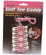 Golf Gifts Pink Golf Tee Caddy 12 Wooden Tees and 3 Ball Markers - $9.80