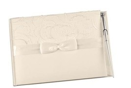 Wedding Guest Book and Pen Set Ivory Satin with Swirls Design - $25.74