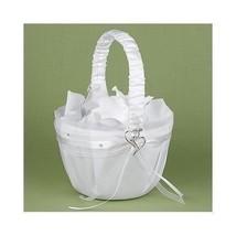 Heartfelt Whimsy Wedding Flower Girl Basket White Satin Heart Accent - $24.75