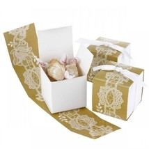 Rustic and Lace Wrap White Favor Boxes Set of 25 Wedding Favor Boxes - $16.83