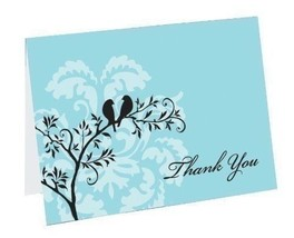 Wedding Thank You Cards Pack of 50 Perched Birds Love Birds Thank you Notes - $17.82