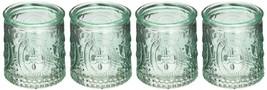 Vintage Blue Glass Tealight Holder Set of 4 Party Candle Favors - $6.93