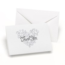 Wedding Thank You Cards Thank you Embossed in a Heart Pack of 50 - $17.81