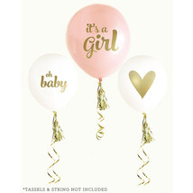 It's a Girl Balloons Set of 3 Gold Printed Balloons Baby Shower Decorations - $16.04