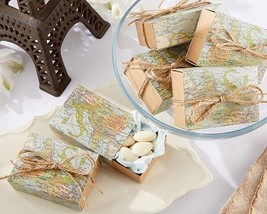 Map Favor Box Set of 24 Wedding Favor Boxes Candy Filler Favors - $18.27