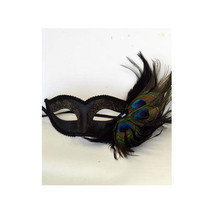 Half Face Black Venetian Mask with Peacock Feather Masquerade Masks - $17.44 CAD