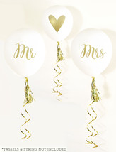 Mr and Mrs Balloons Set of 3 White Wedding Balloons with Gold Prints - $16.04
