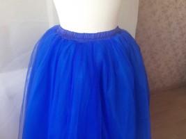 Midi Tulle Tutu Skirt 4 Layered Midi Tulle  Skirt Royal Blue Plus Size image 2