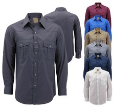 Men's Casual Western Pearl Snap Button Down Long Sleeve Cowboy Dress Shirt