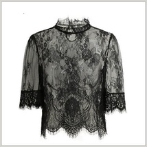 Victorian Collar Sheer Black Floral Eyelash Lace Renaissance Princess Blouse