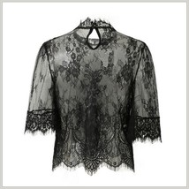 Victorian Collar Sheer Black Floral Eyelash Lace Renaissance Princess Blouse image 2