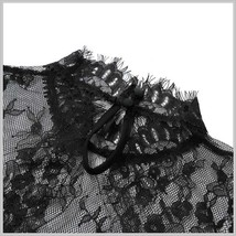 Victorian Collar Sheer Black Floral Eyelash Lace Renaissance Princess Blouse image 3