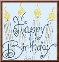 Happy Birthday cross stitch chart Alessandra Adelaide Needleworks - $13.50