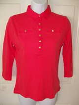 Lauren Ralph Lauren Red Knit Top Shirt Gold Buttons 3/4 Sleeve Size S Wo... - $28.35