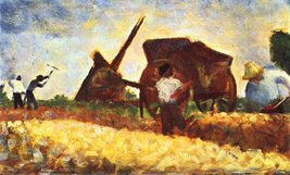 100% Hand Painted Oil on Canvas - The field worker by Seurat - 24x36 Inch - $315.81