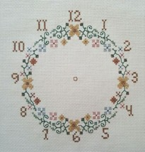 Finished Handmade Cross Stitch Clock Face Flower Wreath Time Unframed Co... - $17.32