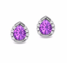 2.50 Ct Synthetic Amethyst Pear Solitaire Halo Stud Earrings 14k White G... - $19.79