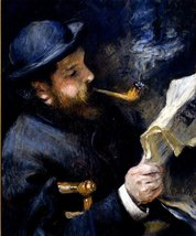100% Hand Painted Oil on Canvas - Claude_Monet_Reading_A_Newspaper - 20x24 Inch - $226.71