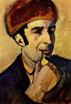100% Hand Painted Oil on Canvas - Portrait of Franz Marc by Macke - 20x2... - $226.71