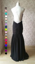 Sexy Black Open Back V Neck Mermaid Prom Dress Black Wedding Bridesmaid Dress image 3