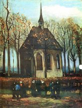 100% Hand Painted Oil on Canvas - The Church of Nuenen by Van Gogh - 20x24 Inch - $226.71