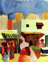 100% Hand Painted Oil on Canvas - Market in Algier by Macke - 24x36 Inch - $315.81