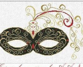 Carnevale Veneziano mask cross stitch chart Alessandra Adelaide Needleworks - $16.75