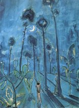 100% Hand Painted Oil on Canvas - Moon landscape (two figures) by Walter Gram... - $226.71