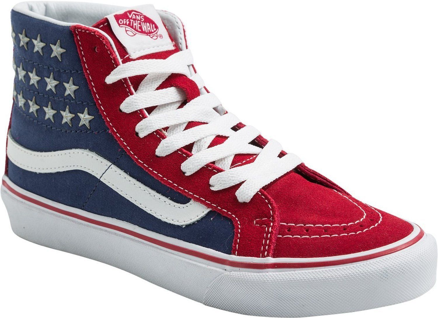 VANS Sk8-Hi Slim Studded Stars Sneakers Shoes American Flag Red Blue NEW  70 f607c4c5c