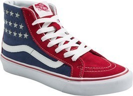 VANS Sk8-Hi Slim Studded Stars Sneakers Shoes American Flag Red/Blue NEW... - $53.95
