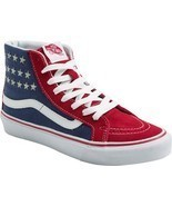 VANS Sk8-Hi Slim Studded Stars Sneakers Shoes American Flag Red/Blue NEW... - £41.99 GBP
