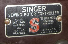 Singer 319w Sewing Motor Controller Foot Pedal 194828
