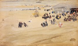 100% Hand Painted Oil on Canvas - Beach Scene by Whistler - 20x24 Inch - $226.71