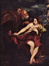100% Hand Painted Oil on Canvas - Susanna in a Bath by Van Dyck - 24x36 ... - $315.81
