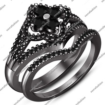 Round Cut Black CZ Black Rhodium Finish 925 Silver Bridal Engagement Ring Set - $85.13
