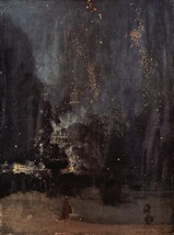 100% Hand Painted Oil on Canvas - Nocturne in black and gold, the falling roc... - $315.81