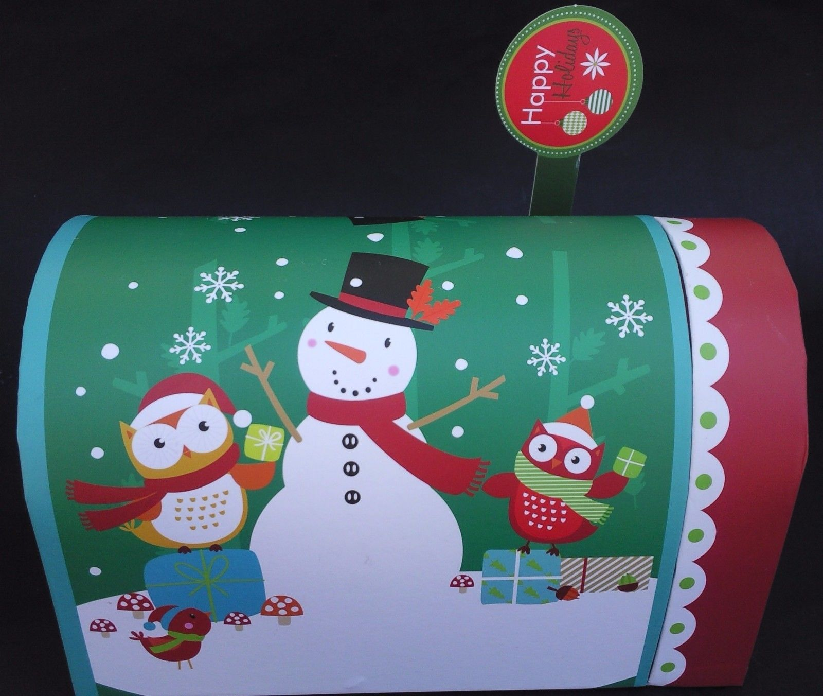Theme Holiday Gift Boxes Mailboxes Hinged Door w Flags Metal Mailbox S20 Select