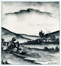 Martino Dorce Haiti Woman Washing Clothes in Stream Original Pen & Ink D... - $197.80