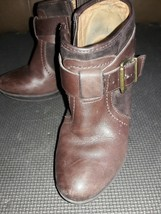 Clarks Brown Leather Buckle Ankle Boots Booties Side Zip Heels Shoes Wom... - $23.65