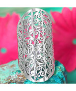 Sterling Silver Ring 925 Solid Long Statement Size Full Finger Big Triba... - $79.98