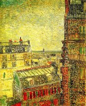 100% Hand Painted Oil on Canvas - View of Paris from Vincent s Room in the Ru... - $404.91