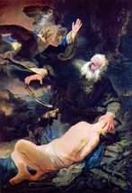 100% Hand Painted Oil on Canvas - The angel prevents the sacrifice of Isaac b... - $404.91