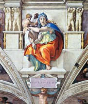 100% Hand Painted Oil on Canvas - The Delphic Sybelle by Michelangelo - ... - $226.71