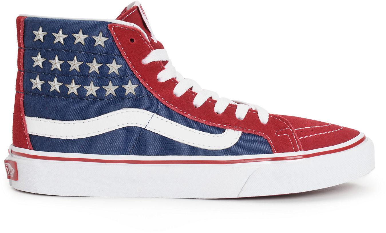 VANS Sk8-Hi Slim Studded Stars Sneakers Shoes American Flag Red/Blue NEW $70