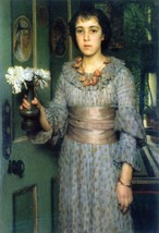 100% Hand Painted Oil on Canvas - Portrait of Anna Alma-Tadema by Alma-T... - $315.81