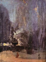 100% Hand Painted Oil on Canvas - Nocturne in black and gold, the falling roc... - $226.71