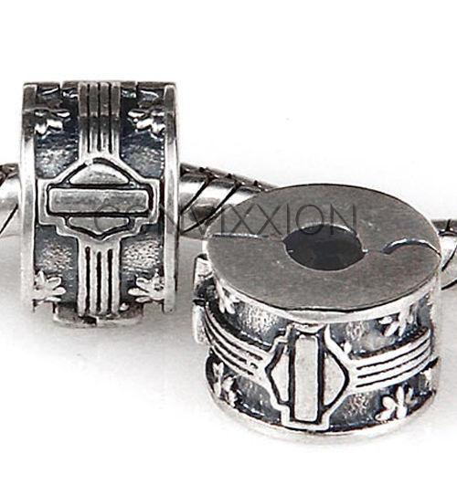 Sterling Silver European Charm Bead Clip Lock Stopper Burnout Tire Skid Shield