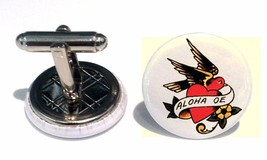 Sailor Jerry Cufflinks - Silver Nautical Swallow Rockabilly Tattoo Pinup... - $18.60