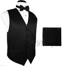 10-B BLACK Solid Tuxedo Suit Vest Waistcoat and Bow tie Hankie Set Prom ... - $16.81+