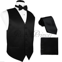 BLACK Solid Tuxedo Suit Vest Waistcoat and Neck tie, Bowtie Hankie Set W... - $18.79+